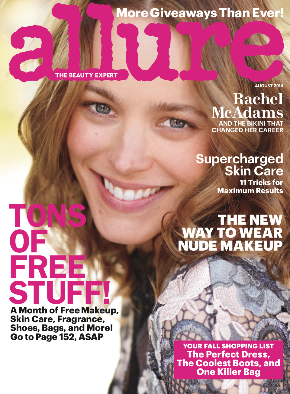 Rachel McAdams is bare-faced and beautiful on the cover of Allure