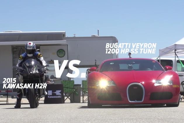 【ビデオ】カワサキ「ニンジャ H2R」が、1200馬力のブガッティ「ヴェイロン」や1350馬力の日産「GT-R」と対決!