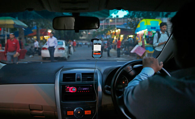 An Uber car in India