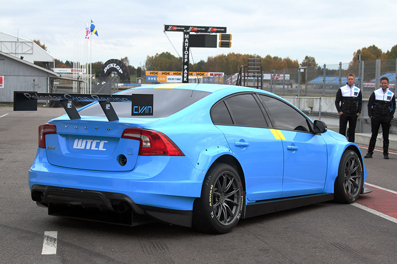 The Volvo S60 Polestar TC1 race car for the 2016 WTCC series, rear three-quarter view.