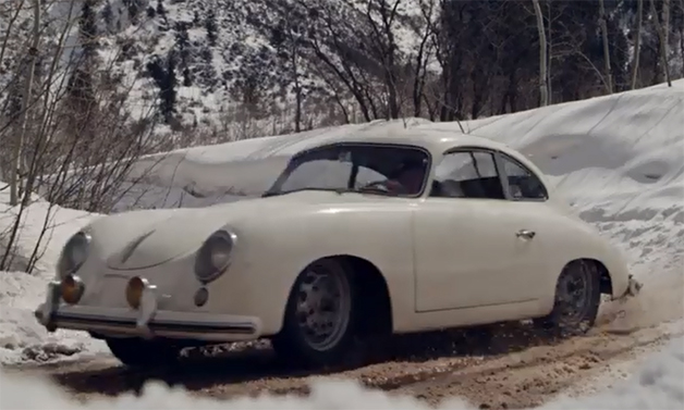 Screencap from a short film profiling racing driver Jeff Zwart throwing his 1953 Porsche 356 Pre A around in the snow.