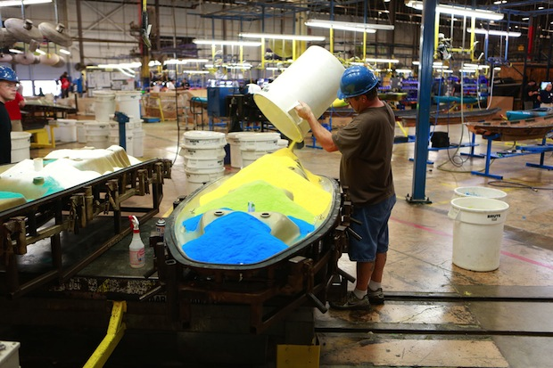 Confluence Outdoor resins poured into kayak molds Greenville South Carolina