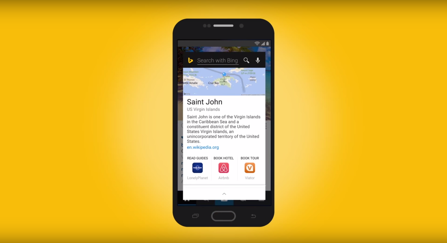 is delivering an replacement for i inward every of its almost enormously predicted features Bing beats Google Now to system-wide contextual search