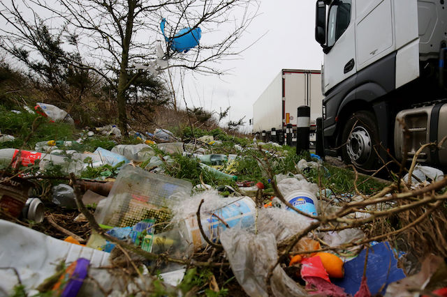 A view of the rubbish left by lorry drivers on the verge of the A20 near Dover in Kent as Kent Police's traffic officers continue a crackdown on lorry drivers parking illegally on slip roads and verges throughout the county.