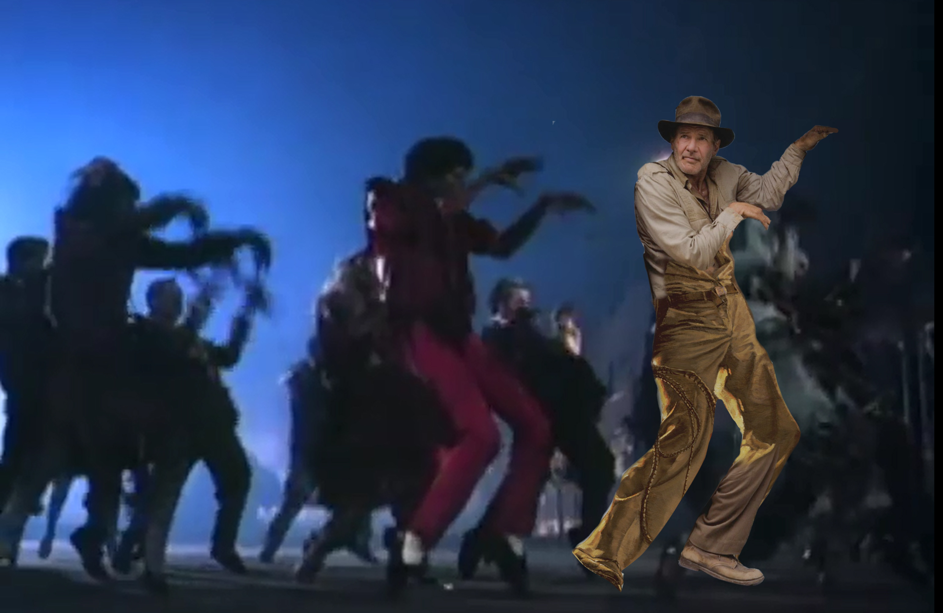indiana jones fridge pose photoshop battle, indiana jones michael jackson thriller