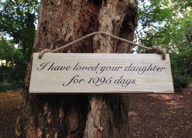 romantic sign on tree