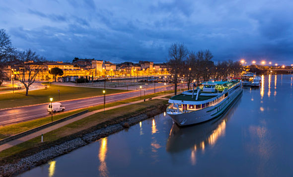 Boat at Avignone moorage - France
