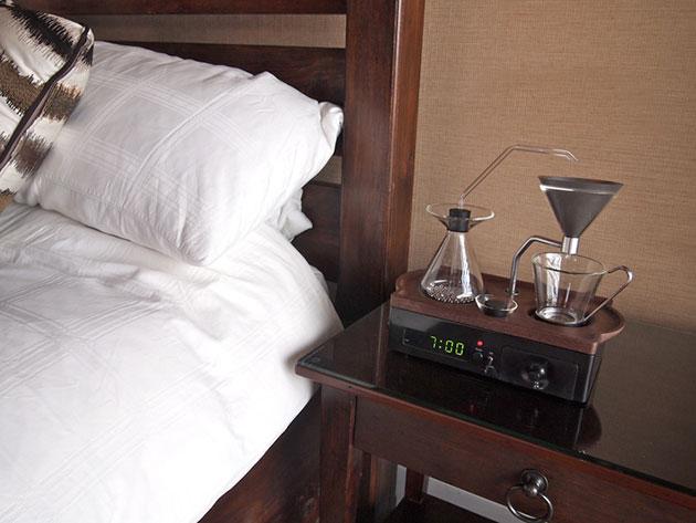 The Barisieur alarm clock automatically brews coffee while you wake