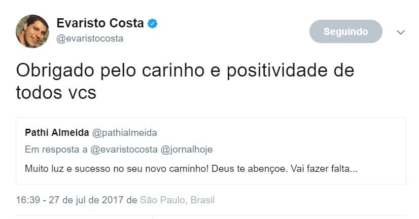 Evaristo Costa confirma saída do 'Jornal Hoje'; Veja o vídeo