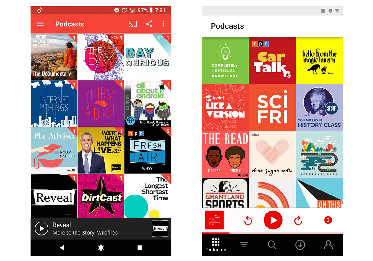 The prototype shows a softer-looking Pocketcasts app, with a white  interface instead of its current red one. In fact, the only color is found  on interactive ...