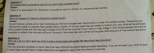 school bans packed lunches