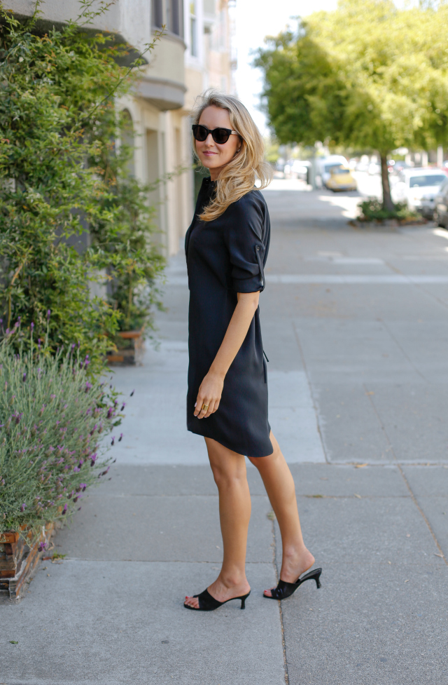 girl black shirt dress mules sunglasses