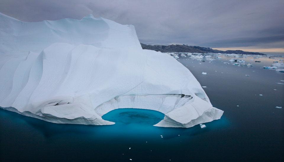 Glaciers in the Arctic Ocean near Greenland