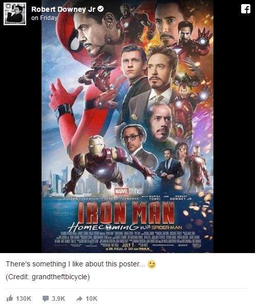 アイアンマンだらけにされた映画『スパイダーマン:ホームカミング』のポスターのコラ画像をロバート・ダウニー・Jrが称賛!?
