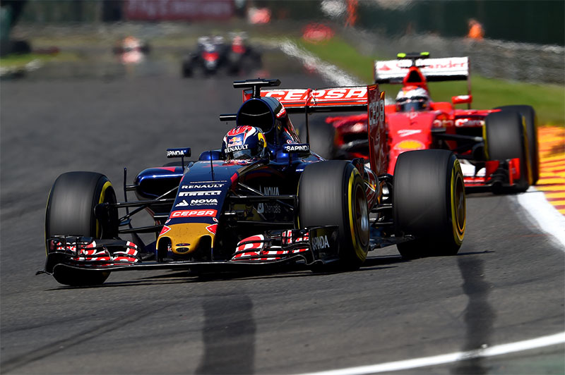 Max Verstappen drives at the 2015 Belgian Grand Prix.