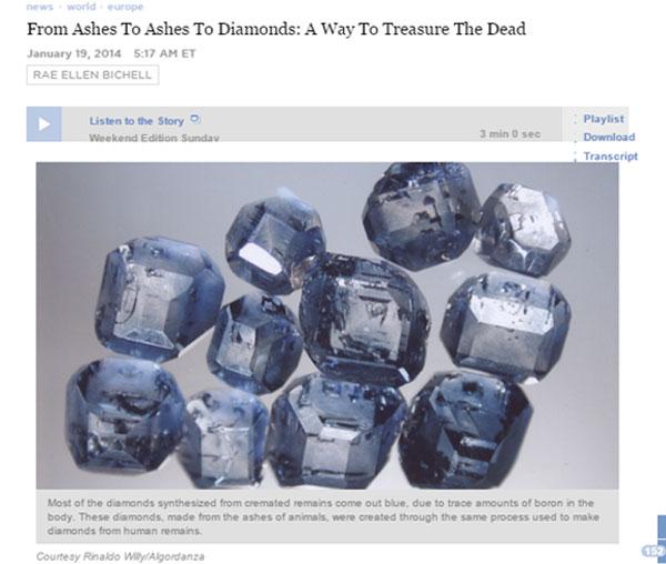 死んだ後は宝石に・・・遺灰からダイヤモンドを精製するサービスが話題に