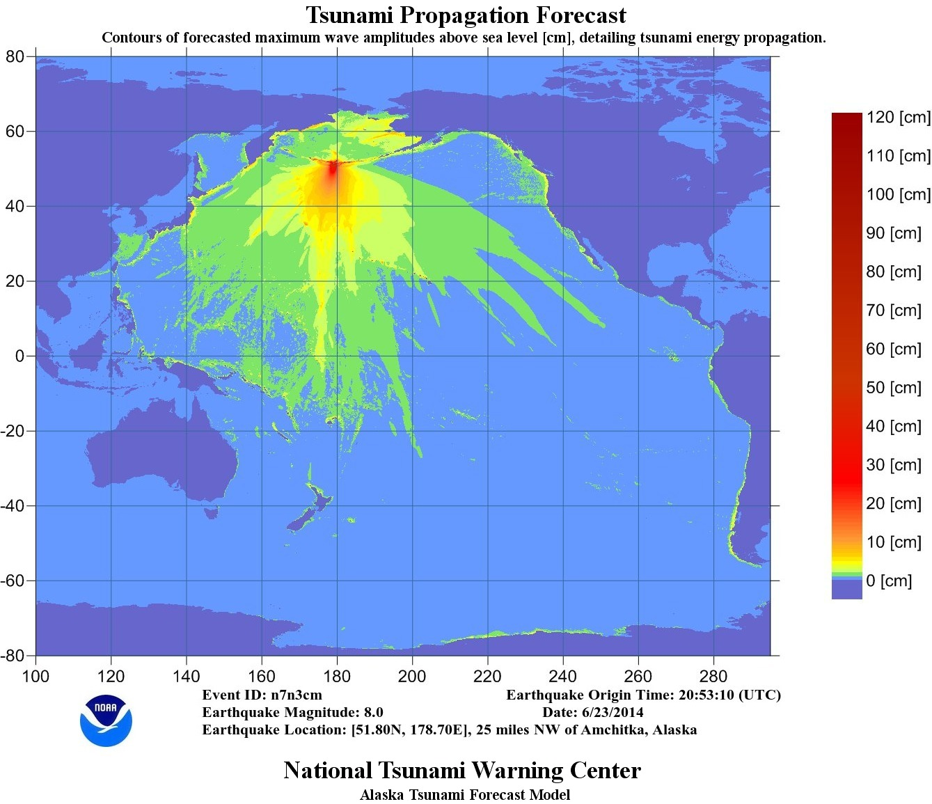 Energy map for tsunami warning after Alaska earthquake