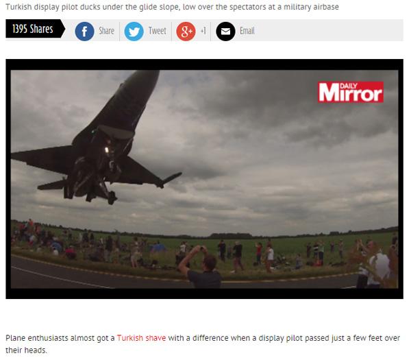トルコ人パイロットの超絶飛行テクを収めた動画が凄すぎると話題に