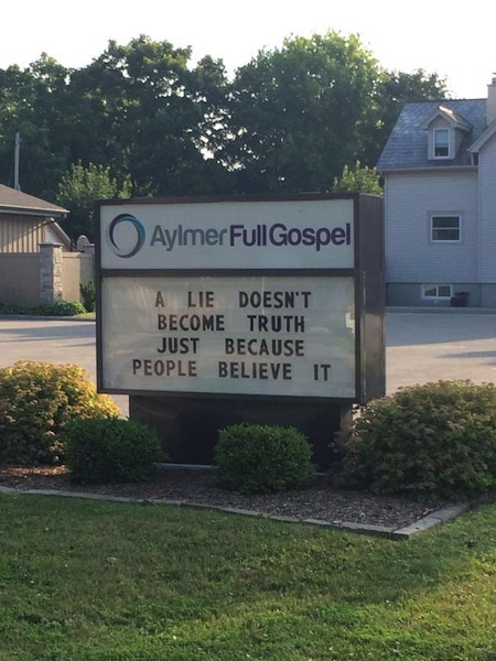 funny ironic photos, irony photos, lie truth church marquee