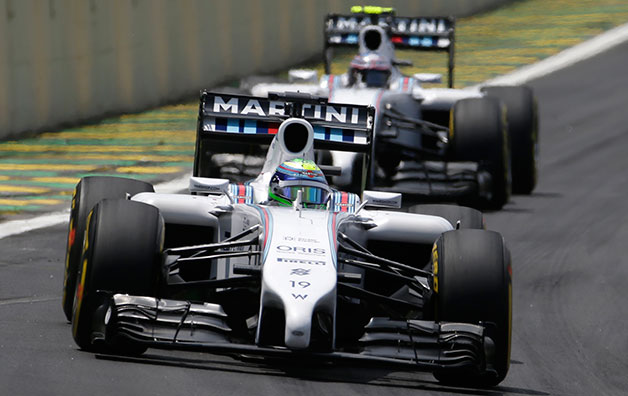 Williams driver Felipe Massa leads teammate Valtteri Bottas at the 2014 Brazilian F1 Grand Prix.