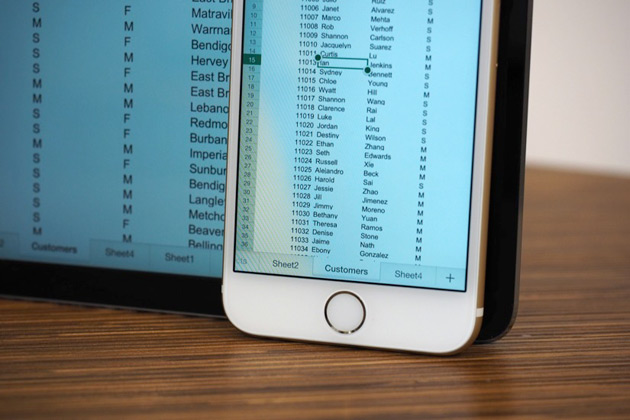 Microsoft Office on an iPhone