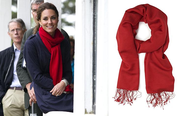 Kate Middleton red Hugo Boss scarf