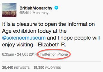 Queen sends first tweet, signed Elizabeth R'