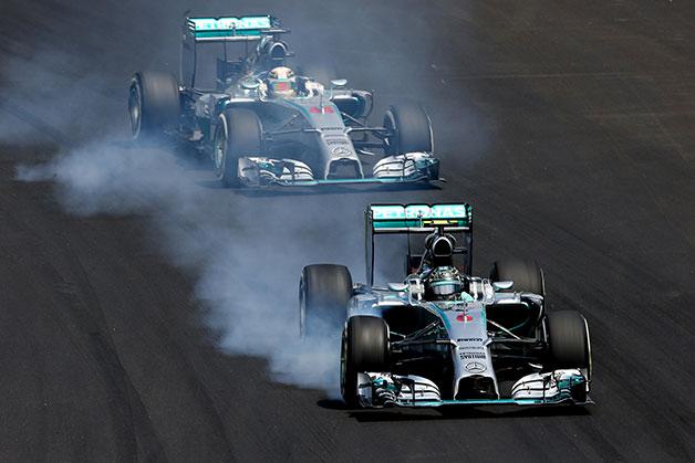 Nico Rosberg leads Lewis Hamilton at the 2014 Brazilian F1 Grand Prix.