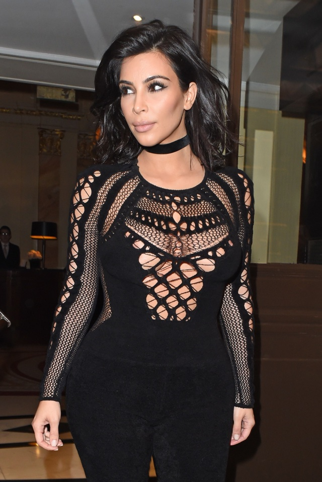 Kim Kardashian sizzles at the Brits in mesh bodysuit