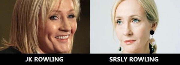 celebrity name puns, celebrity opposite names, jk rowling srsly rowling