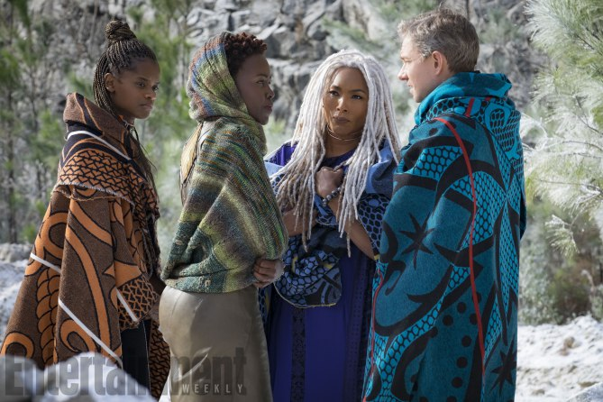 Marvel Studios' BLACK PANTHER<br /> L to R: Shuri (Letitia Wright), Nakia (Lupita Nyong'o), Ramonda (Angela Bassett) and Everett K. Ross (Martin Freeman)<br /><br /> Credit: Matt Kennedy/©Marvel Studios 2018