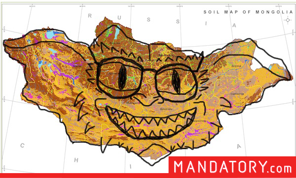 countries that look like pop culture references, funny country outlines, mongolia gremlin