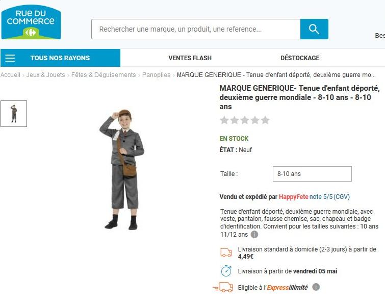 La vente d'un déguisement d'enfant déporté sur Rue du commerce suscite l'indignation