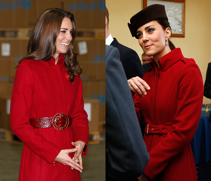 Duchess Kate, wearing her red LK Bennet coat in 2011 and 2016