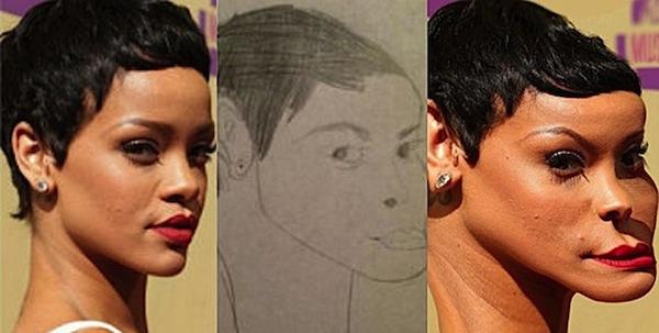 best worst examples of celebrity fan art, bad celebrity drawings, rihanna