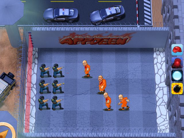 Six police characters line up against four prisoners trying to escape in Prison Defense