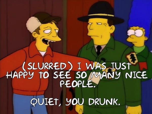 reasons it sucks not to be a big drinker, sober at the bar funny, simpsons quiet you drunk