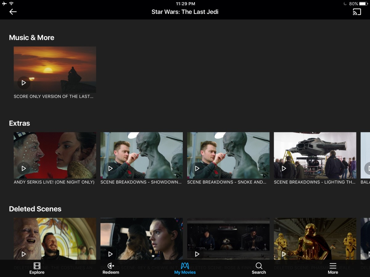 Inside the Movies Anywhere app