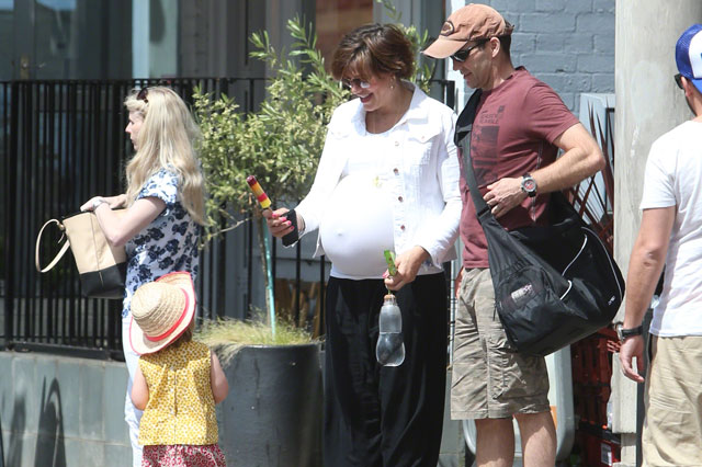 Pregnant Kate Silverton has a day out with daughter Clemency before due date