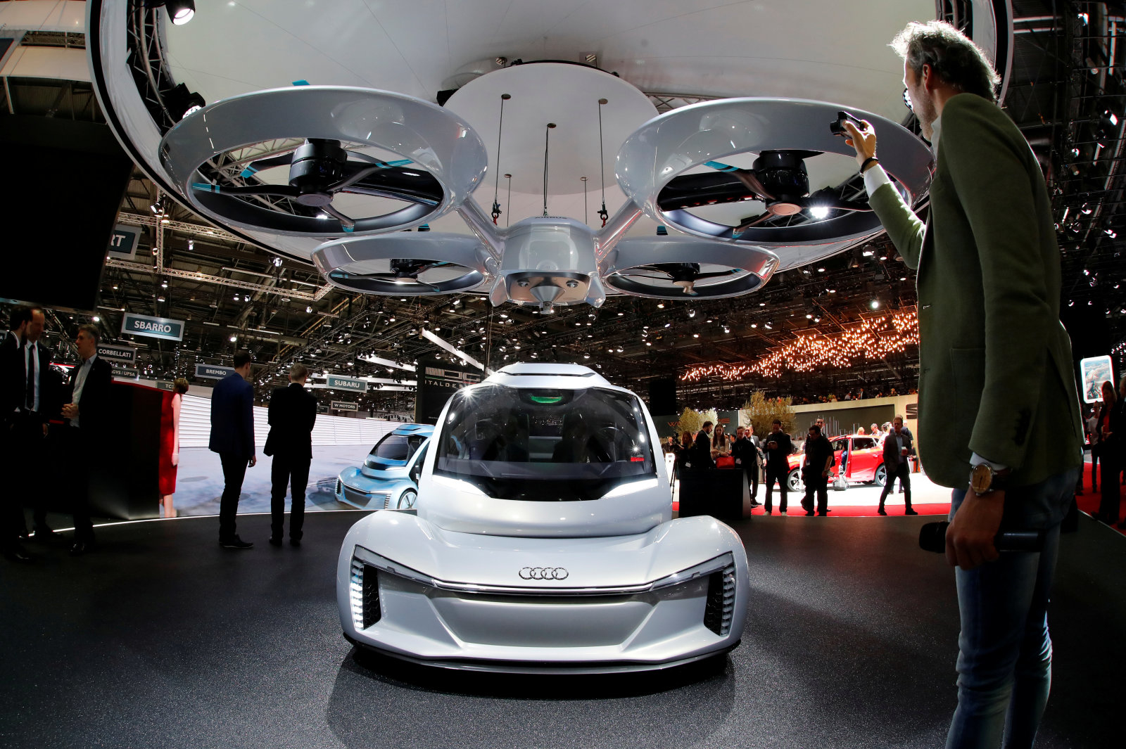 "The ""pop.up next"" concept by Audi, Airbus and Italdsign is pictured during the 88th Geneva International Motor Show in Geneva, Switzerland, March 6, 2018. Picture taken with a fisheye lens. REUTERS/Denis Balibouse"