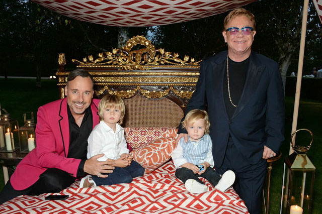 Sir Elton John and David Furnish's sons make a rare appearance at charity bash