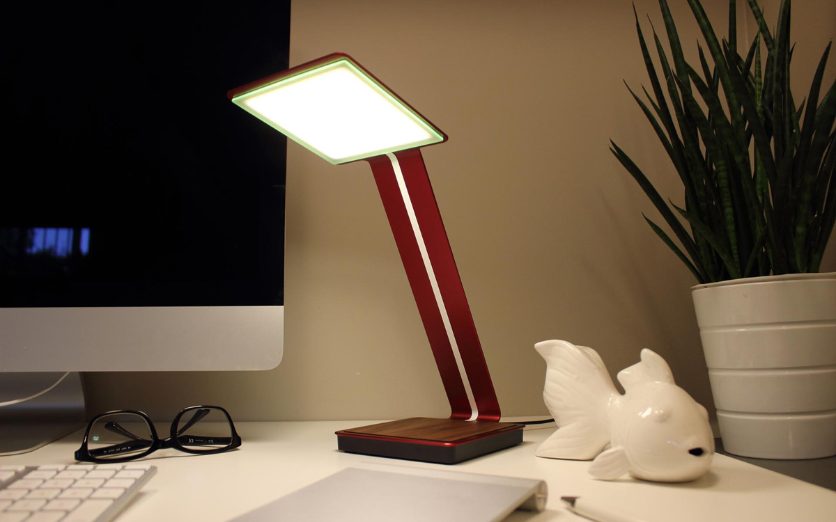 this super thin oled desk lamp will also charge your phone. Black Bedroom Furniture Sets. Home Design Ideas