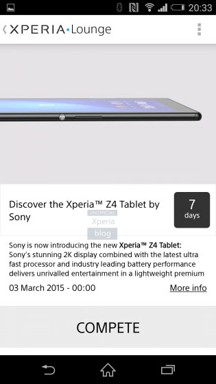 Sony reveals its high-res Xperia Z4 Tablet earlier than planned