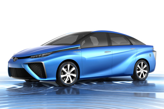 Rendering of Toyota's coming hydrogen fuel cell vehicle, front three-quarter view.