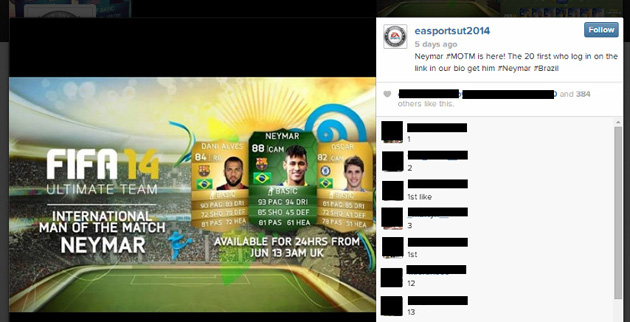 Fake EA Sports Instagram account