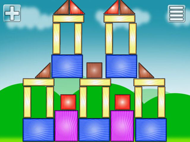 Completed wooden block building in Wood Blocks for Kids