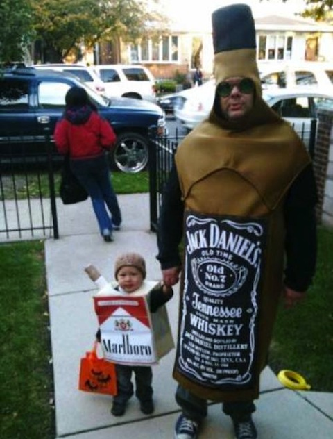 funny dads, best dads, father son halloween costumes whiskey cigarettes