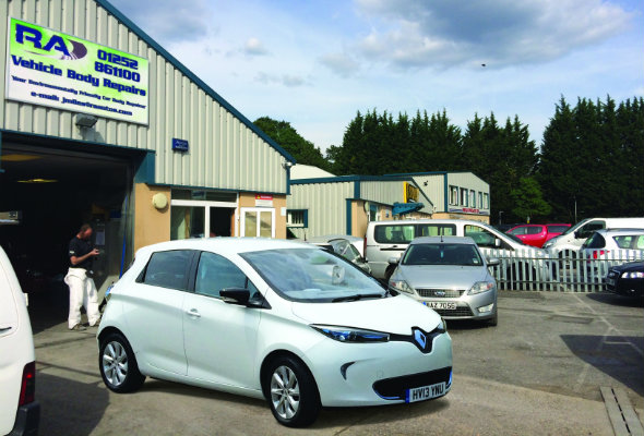 Renault Zoe outside garage