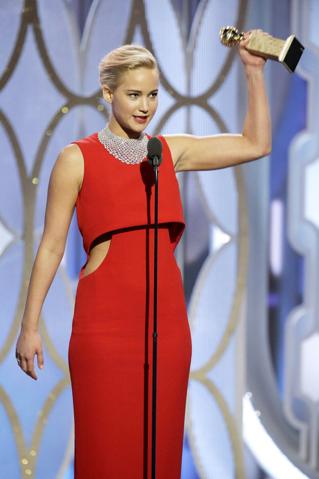 "BEVERLY HILLS, CA - JANUARY 10: In this handout photo provided by NBCUniversal,   Jennifer Lawrence accepts the award for Best Actress - Motion Picture, Comedy for ""Joy"" onstage during the 73rd Annual Golden Globe Awards at The Beverly Hilton Hotel on January 10, 2016 in Beverly Hills, California.  (Photo by Paul Drinkwater/NBCUniversal via Getty Images)"