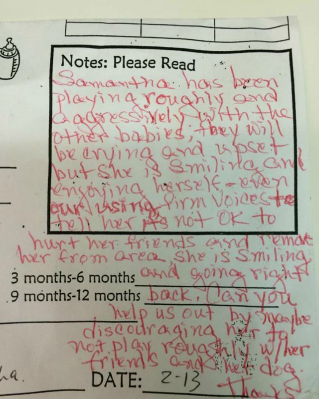 ridiculous daycare note